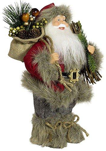 Christmas Paradise Weihnachtsmann Santa Nikolaus Axel mit schönem Gesicht und Vielen Details/Größe ca.30cm/Roter Fellmantel, Rote Fellmütze, Graue Hose, Fellstiefel - Trendyshop365