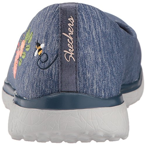 Skechers Damen Microburst-Botanical Paradise Geschlossene Ballerinas Blau (Navy)