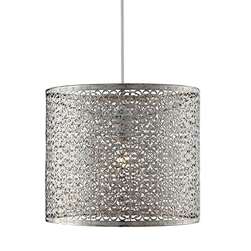 Lighting Collection 700035 Abat-jour suspension en métal non électrifiée Chrome 60 W