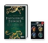 HARRY POTTER Hogwarts-Schulbuch: Phantastische Tierwesen und wo sie zu Finden sind (Hardcover) + 1. original Button
