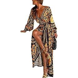 Vestidos De Cóctel Africano Bohemio De Manga Larga Abrigo De Fiesta Maxi Vestido De Mujer Amarillo S