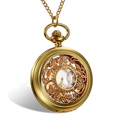 LANCARDO Taschenuhr Vintage Herren Damen Uhr Analog mit Halskette Weihnachten Geschenk LCD16P056