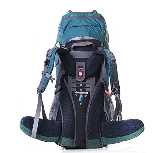 Schulter Bergsteigen Paket Outdoors Rucksack 70L Professionelle Bäume Wasserdichte Tasche emerald