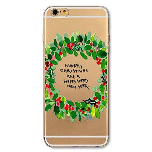 iPhone 6 Hülle,iPhone 6S Schutzhülle Defender Bumper,Ekakashop Ultra dünn Slim Bunt Christmas Weihnachten Durchsichtig Transparent Muster Weiche Silikon TPU Gel Crystal Case Defender Back Cover Protec Weihnachten Grüne Girlande