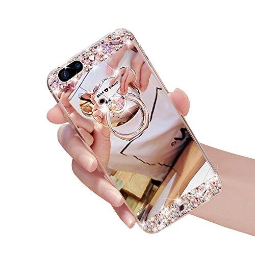 iPhone 8 Plus Hüllen,Vandot Double Silikon Hülle für iPhone 8 Plus/7 Plus Handyhülle Glänzend Glitzer Crystal Kristall Stoßdämpfend Transparent Full Body Beidseitiger 360°Schutz Schutzhülle Touchscree Spiegel-Bär Silber