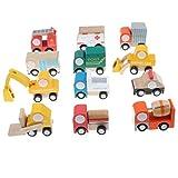 Baoblaze 12er-Pack Mini Holzspielzeug Spielfahrzeug - Fahrzeuge von Holz - Inklusive Bus, Fracht, Schulbus, Feuerwehrwagen, Krankenwagen, Polizeiauto, Postauto, Betonmischer, Bagger usw.