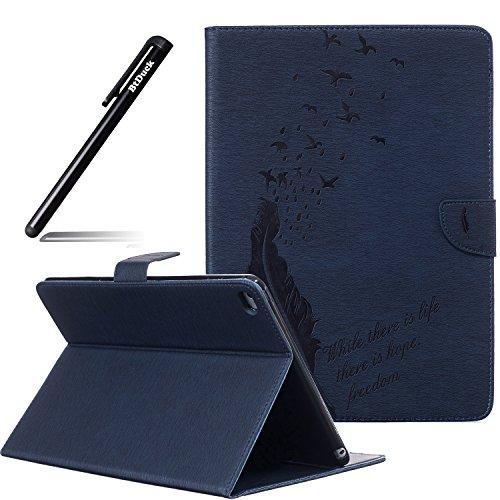 iPad Air 2 iPad 6 Hülle,Schutzhülle Tasche für iPad Air 2 iPad 6,BtDuck Blau PU Leder Cover Case Brieftasche Kartenfach für iPad Air 2 iPad 6 Silikon Wallet Ledertasche Lederhülle Handyhülle Schale