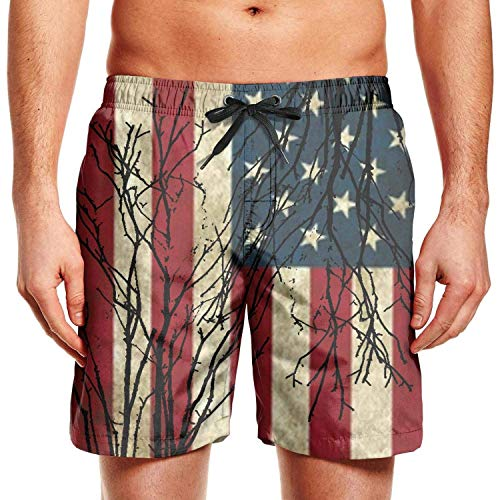 Harry wang Mens Surfing Board Shorts Feuerwehrmann Rote Linie USA Flagge Badehose mit Tunnelzug, M