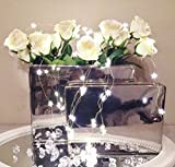 2er Set Rechteckige Keramik Vase Silber Porzellan Shabby Chic Dekoration