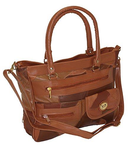Damen Patchwork Handtasche Vintage Tasche mit zusätzlichem verlängerbaren Henkel Henkeltasche Shopper Schultertasche Umhängetasche Braun DH0001 (Braun) (Braun Tasche Patchwork)