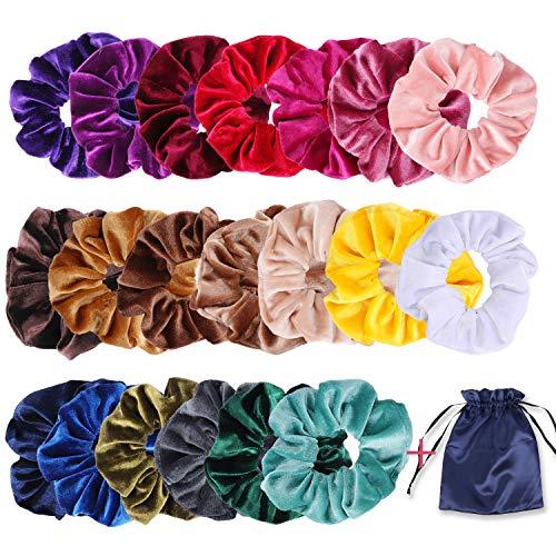 Oladwolf 20pcs scrunchies velluto per capelli, elastici per capelli velluto, vsco girl, elastico fasce cravatte corde morbido accessori con una borsa di stoccaggio