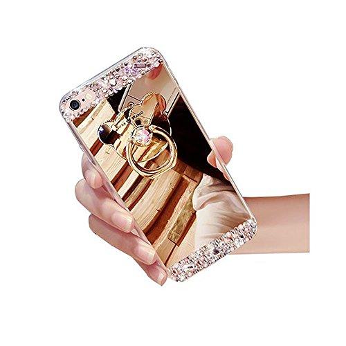 Sycode Custodia Specchio in Silicone per iPhone 5 5S SE,Diamante Mirror Cover per iPhone 5 5S SE,Strass Bling Tpu Bumper Case per iPhone SE 5S 5 Lusso Moda Donne Della Ragazza Ultrasottile Luccichio G Orso Ring Supporto Oro