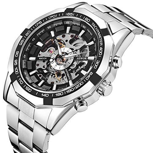 Montres, montres mécaniques pour hommes Montre mécanique Skeleton Punk avec bracelet en acier inoxydable (Silver)