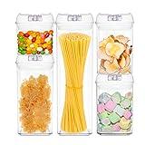 JIANCHI Contenitori per Alimenti con coperchi ermetici, Dispenser BPA e plastica per Alimenti, Dispenser per Spaghetti e Cereali (Set di 5 Pezzi)