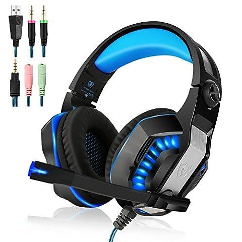 Beexcellent Gaming Headset mit Mikrofon für Xbox One, PS4, Nintendo Switch - PC Surround Sound, Lärmreduzierung, Gaming Kopfhörer – Einfache Lautstärke Kontrolle – 3,5 mm Stecker für Smartphone, Laptop, Computer