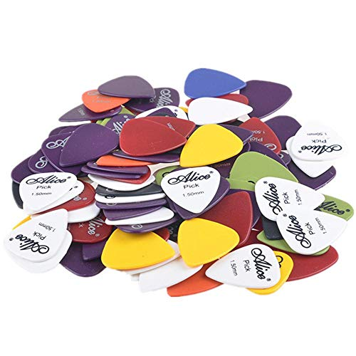 WISFORBEST 100 Stück Plektren Set, Plektrum für Akustikgitarre, E-Gitarre, Ukulele, Bass, Guitar Picks, Zubehör für Gitarre, 0.58-1.5mm 6 verschiedene Farben und Stärken