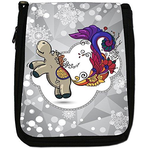 Holiday a forma di fiocco di neve di stagione media-Borsa a tracolla in tela, colore: nero, taglia: M Nero (Horse & Elegant Peacock Tail)