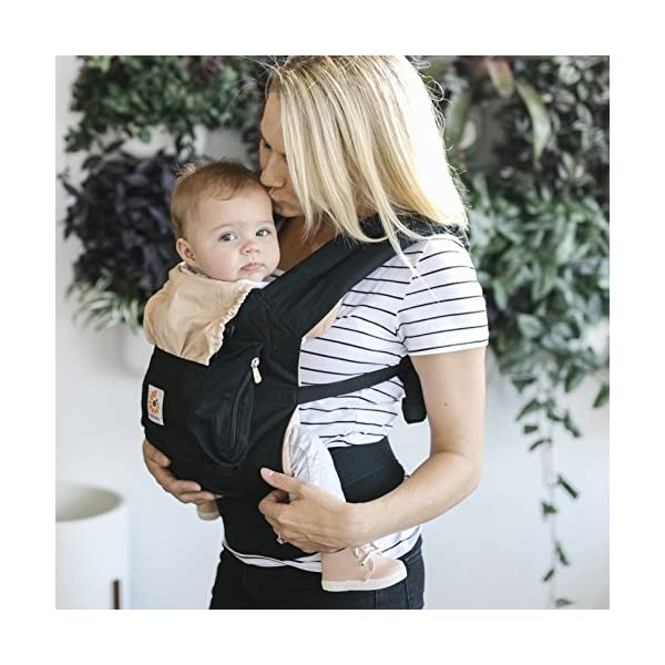 """Ergobaby Baby Carrier Toddler Front Back Original Black/Camel, 100% Cotton Ergonomic Child Carrier Backpack Ergobaby Ergonomic Baby Carrier - Ergonomic for baby with wide deep seat for a spread-squat, natural """"M"""" seated position. Baby carrying system with 3carry positions:  front-inward, hip and back. From baby to toddler: 5.5*-15kg (*from 3.2-5.5kg / 7-12lbs with Infant Insert, sold separately). Wearing comfort - All-day comfort with extra-padded shoulder straps (1 inch high density foam) and padded waistbelt  (1/4 inch) 2"""