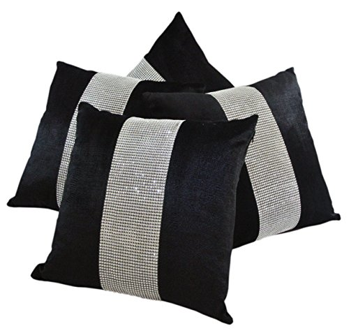 Red Rainbow Set of 4 Black & Silver Diamanté Sparkle Bling Crushed Velvet 17 Inch Cushion Covers