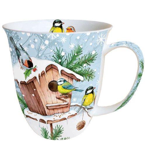 Ambiente Becher - Mug - Tasse Tee / Kaffee Becher - Birds Meeting Place - Vögel - Treffpunkt - Winter - Christmas - Weihnachten ca. 0.4L - Ideal Als Geschenk