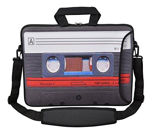 MySleeveDesign Laptoptasche Notebooktasche Umhängetasche Größe 15,6 Zoll und 17,3 Zoll - mit VERSCH. DESIGNS - Cassette [17]