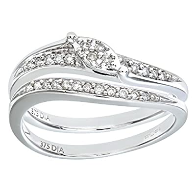 Naava 9ct White Gold 0.15ct Diamond Bridal Set Wave Ring