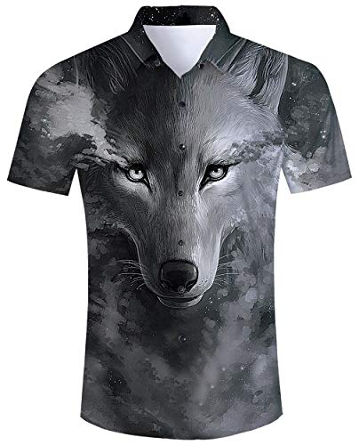 ALISISTER Hawaiihemd Herren Freizeithemd Kurzarm Button Down Hawaii T-Shirt Männer Junge 3D Wolf Muster Lässig Sommer Urlaub Party Regular Slim Fit Aloha Hemd XL