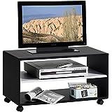 TV-Möbel TV-Rack Lowboard Fernsehtisch TV-Tisch TV-Element ATLANTA, in schwarz - weiß, mit Rollen