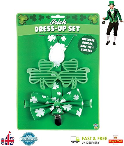 Deluxe 3Pcs Irish Dress Up Set St. Patrick's Day Novelty Fancy Dress (Braces, Glasses and Bow) UK by Lizzy®