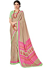 Salwar Studio Women's Pista & Pink Italian Crepe Printed Saree With Blouse Piece