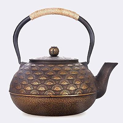 Ahui Japon théière en fonte Kung Fu théière non enduit fer poignée couverture de fer rétro artisanat 2L