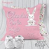Cojín personalizado nacimiento bebé conejito en rosa 19 x 19 cm, Relleno Incluido!!