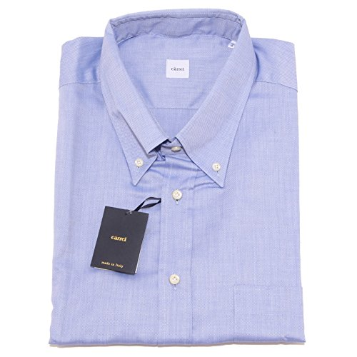 2698p camicia uomo carrel azzurra manica corta shirt men sleeveless [48 / 5xl]
