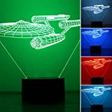 Rrimin Star Trek LED Night Light 3D 7 Colors Night Light USB Desk Table Lamp