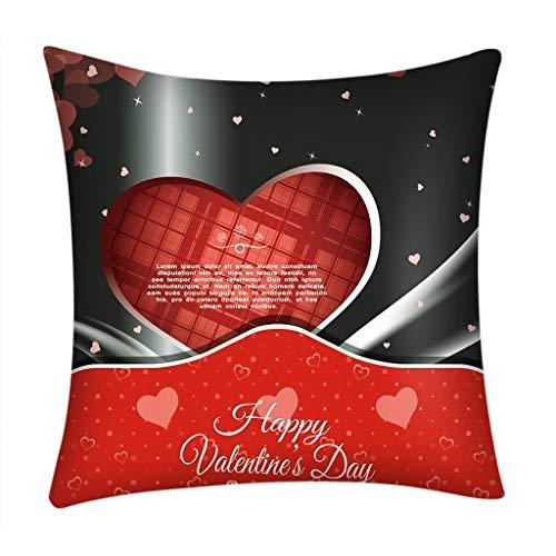 Fundas de Cojines,SHOBDW Regalo de San Valentin Impreso Rojo Lindo sofá romántico Coche decoración del hogar Ideas de la Boda Funda de Almohada(45cmx45cm No Inserto De Almohada) (D, 18x18)