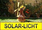 Solar-Windmühle Holz massiv, wetterfest,robust mit Bitumen, MIT WINDFAHNE Windrad-Seitenruder, Windmühlen Garten, imprägniert + kugelgelagert 1 m groß rot dunkelrot edelrot weinrot, mit SOLARBELEUCHTUNG
