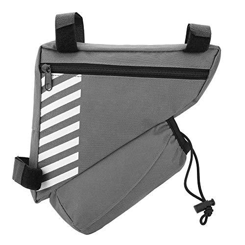 Fahrrad Satteltasche, Tragbare Qualität Bike Top Tube Wasserkocher Dreieck Beutel Halter Pack für Mountainbike(Grau)