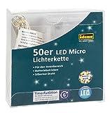 Idena LED Lichterkette für innen, 50er, mit Timer, batteriebetrieben, warm weiß, 31825