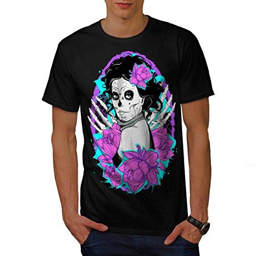 Mädchen Heiß Tot Knochen Horror Herren M T-shirt | (Katze Thema Heißes Kostüm)