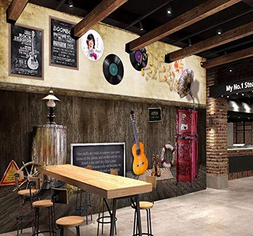 Wandbilder Tapete 3D Retro Nostalgic Musical Instrument Star Bild Schwarz Vintage Hintergrund Wand Restaurant Studio Wandbild Tapete-450X300Cm,wallpaper (Schwarzem Studio Hintergrund)