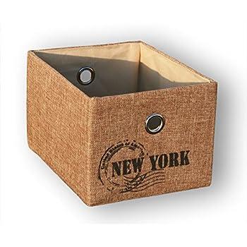 KMH®, Praktischer Schrankkorb *Traveller* 20 x 26 cm (Farbe: natur / Aufdruck: New York) (#204122)