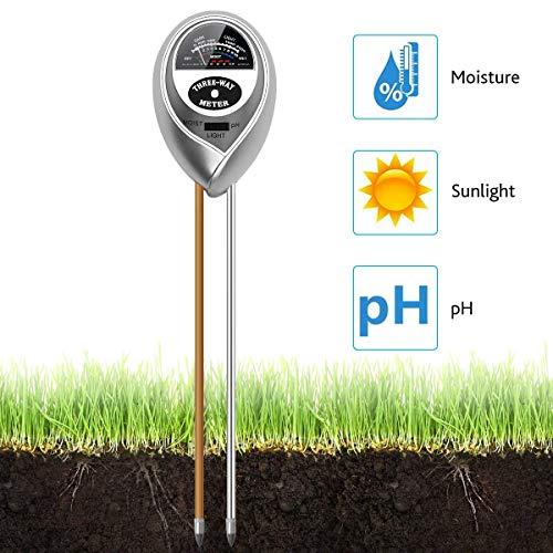 Aieve Soil Ph M/ètre DE Lhumidit/é du Sol M/ètre 1/Lot 3/en 1/testeur de Sol avec sonde de Pr/écision des Outils de Jardinage pour Home Garden pelouses ext/érieur Plantes en int/érieur
