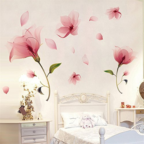 Meihuida Romantic Pink Orchid Flower Petal Falling Wall Sticker For Room  Decoration