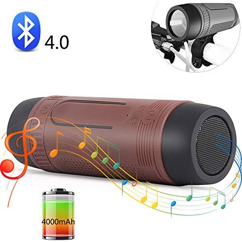 SHENGY Fahrrad-Bluetooth-Lautsprecher, LED-Taschenlampe, wasserdichter drahtloser Musik-Player im Freien, 4000mAh großes Kapazitäts-Handy-Ladegerät, Stütz-TF-Karte,Brown -
