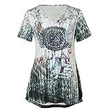 DEELIN Karneval Fasching Sommer Mode Damen Plus Größe Windbell Print V-Ausschnitt Kurzarm Bluse Pullover Frauen Lässig Tops Shirt