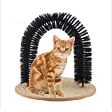Pet Cats Self-Groomer Plastic Bristles Massager Cat Scratcher Arch