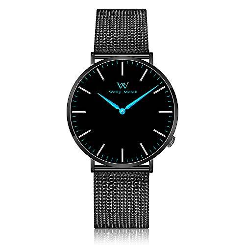 Welly Merck Herren Armbanduhr Schweizer Uhrwerk Saphirglas Luxus Minimalistische ultra dünne 20mm schwarz Edelstahl Masche Armbänder blaue Hände 42mm Zifferblatt 50M wasserdicht