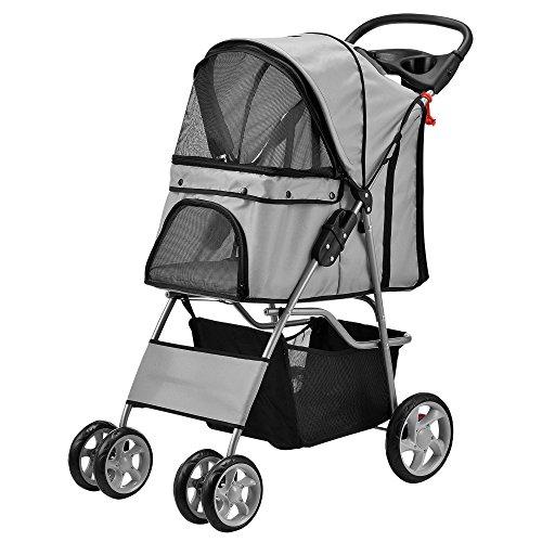 [pro.tec] Passeggino per cani grigio Pet Stroller Buggy per cani protezione pioggia Roadster