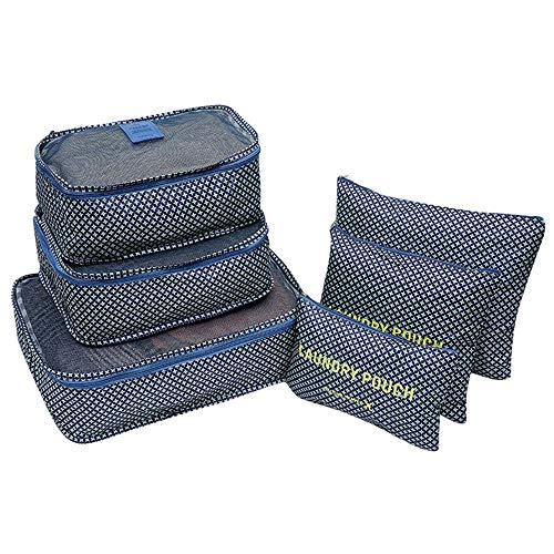 Berrose-6 Stück Wasserdicht Reisekleidung Aufbewahrungsbeutel Gepäck Organizer Beutel Verpackungswürfel Reise Aufbewahrungstasche Kofferraum Unterwäsche Lager Set