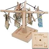Geld-Wäschespinne zur Taufe: Ein kreatives Geldgeschenk für Dein Patenkind - individualisierbar mit persönlicher Gravur für Jungen und Mädchen mit Taufsymbol